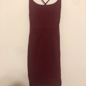 Maroon bodycon dress with strappy back